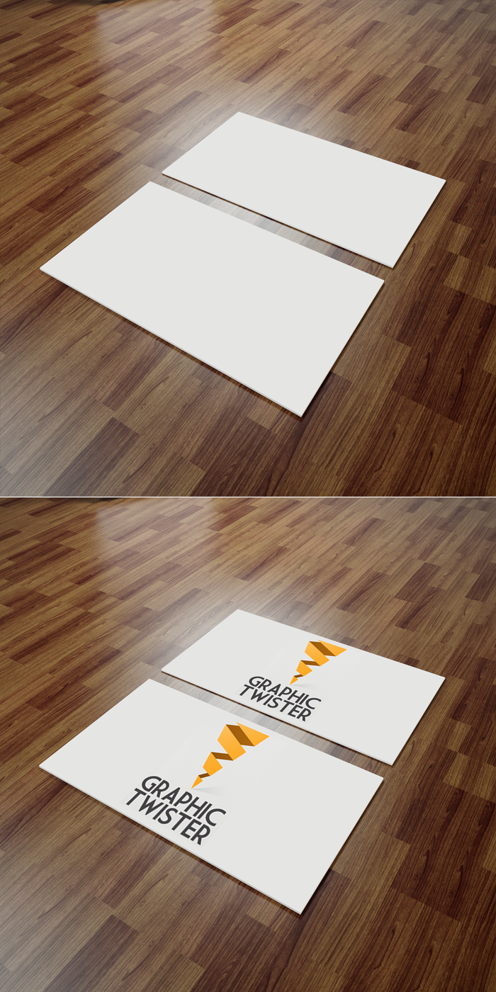 Business Cards Mockup Wooden Backrgound