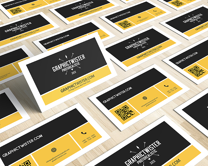 Corporate QR Code Business Card Mockup Templates Images Vectors - Business card with qr code template