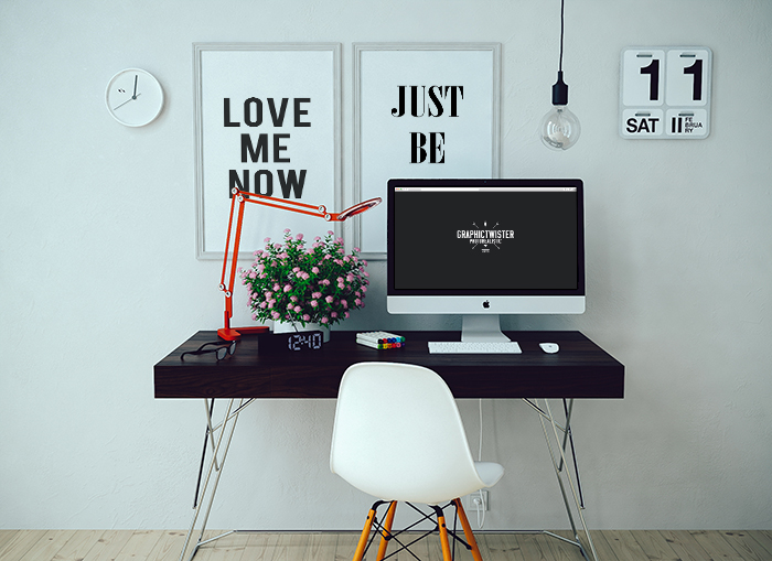 Studio Decor Wall Hanging Template : Imac mockup with two wall frames templates images