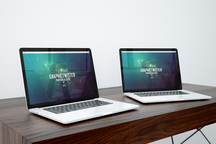 Double Mac Book Pro Mockup | Premium and Free Graphic Resources