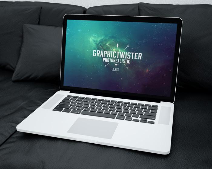 Mac Book Mockup on Sofa | Premium and Free Graphic Resources
