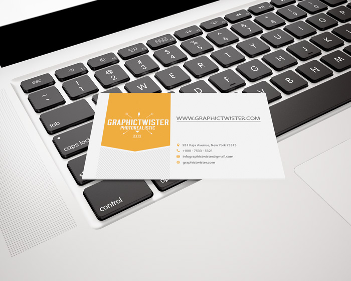 Business card mockup on apple reheart Image collections