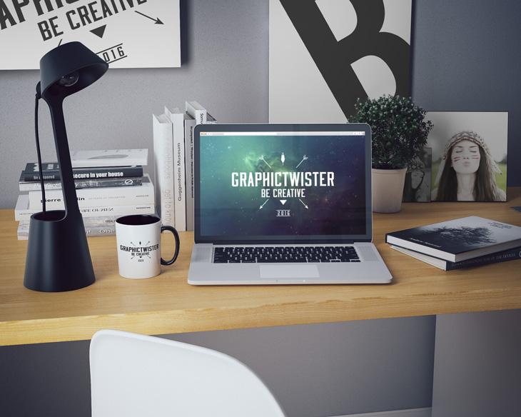 Macbook ipad & iphone 6 workspace mockups free download free