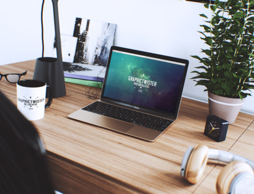 Workspace Mockup With Macbook