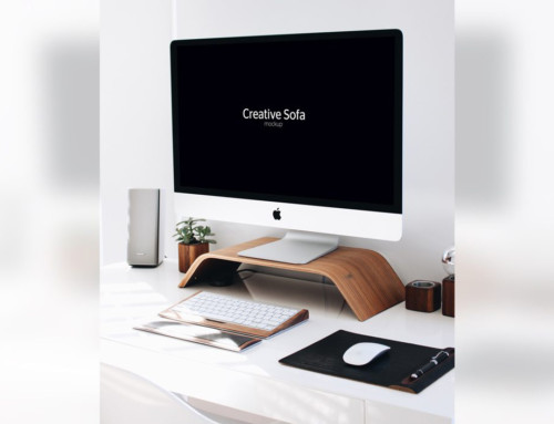 iMac on wooden Stand Mockup