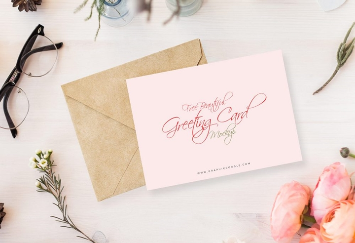 Flowery invitation card mockup mockup templates images vectors i am very excited to share with all the designers beautiful greeting card mockup this beautiful mock up helps you to get the desire result for your stopboris Choice Image