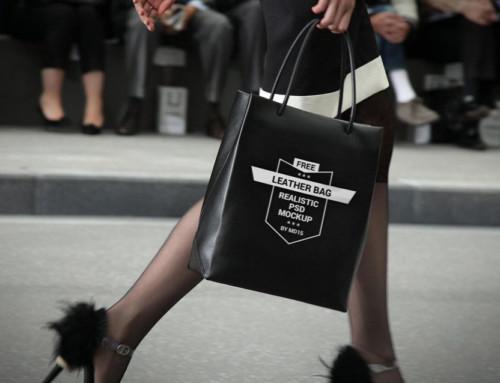 Woman with black Shopping Bag Mockup